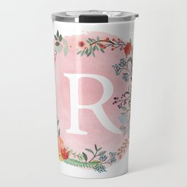 Flower Wreath with Personalized Monogram Initial Letter R on Pink Watercolor Paper Texture Artwork Travel Mug