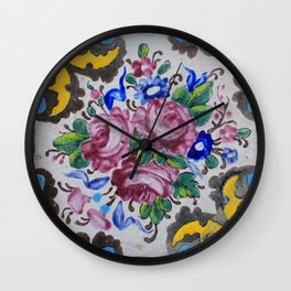 Floral tile yellow turquoise Wall Clock