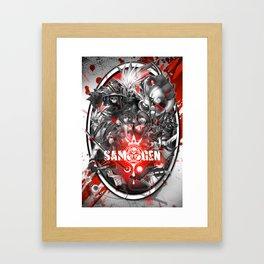 Samurai Genji Collage Framed Art Print
