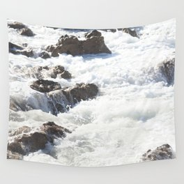 White water, dark rocks Wall Tapestry