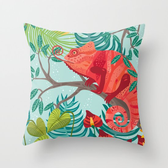 The Red Chameleon  Throw Pillow