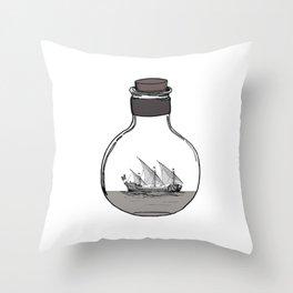 Antique Ship in a Bottle Throw Pillow