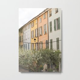 French village, colored houses, travel photography, old doors and windows Metal Print