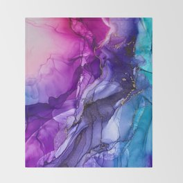 Abstract Vibrant Rainbow Ombre Throw Blanket