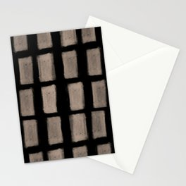Brush Strokes Vertical Lines Nude on Black Stationery Cards
