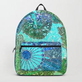 Aqua Green and Blue Glitter Flowers Backpack