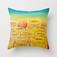 Throw Pillows featuring Orange Masonry by feralsister