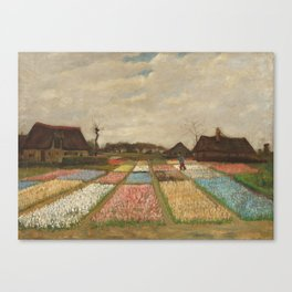 Classic Art - Flower Beds in Holland - Vincent van Gogh Canvas Print