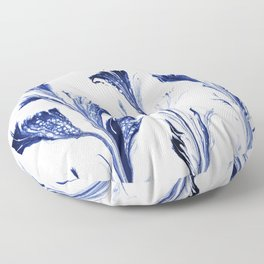 Painted Flowers In Blue Floor Pillow