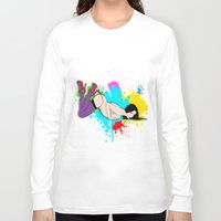 yoga Long Sleeve T-shirts featuring Yoga by Don Kuing