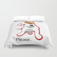 """jack russell Duvet Covers featuring """"Please"""" Jack Russell Terrier Puppy by Unionjackrussells"""