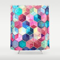 crystal Shower Curtains featuring Topaz & Ruby Crystal Honeycomb Cubes by micklyn