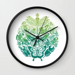 Bugs & Butterflies: green Wall Clock