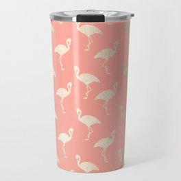 Gold Flamingo Pattern Coral Pink Travel Mug