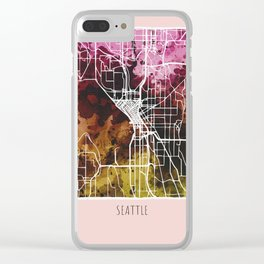 San Jose City Map / Red Clear iPhone Case