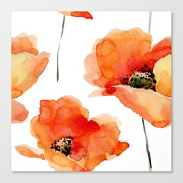 Modern hand painted orange watercolor poppies pattern Canvas Print