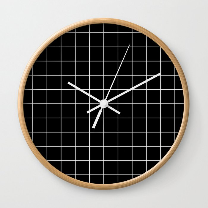 Grid Simple Line Black Minimalistic Wall Clock