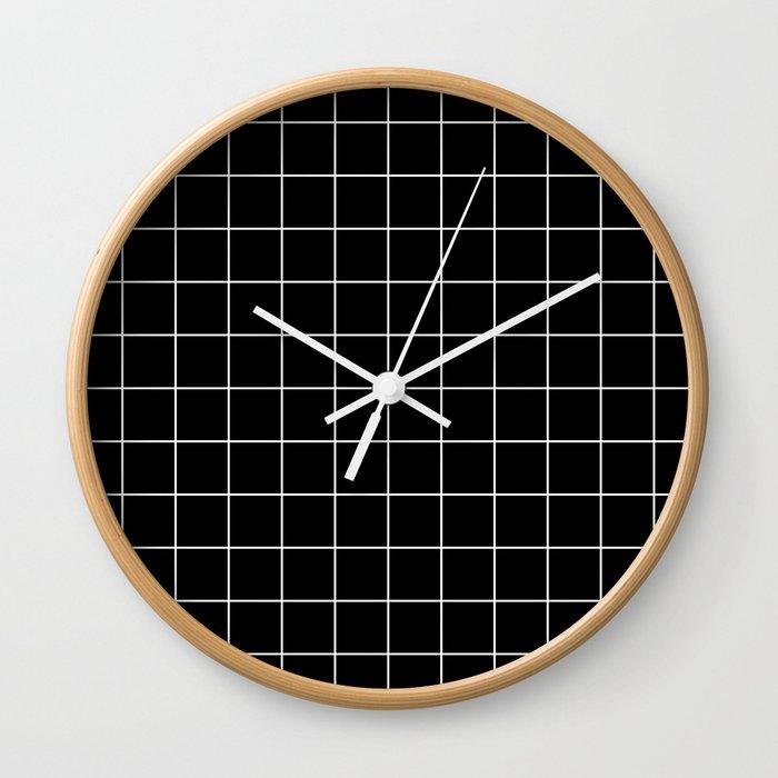 Grid Line Stripe Black and White Minimalist Geometric Wall Clock