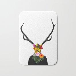 Deer head on flowers Bath Mat