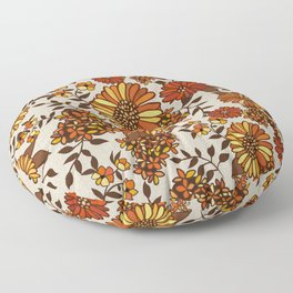 Retro 70s boho hippie orange flower power Floor Pillow