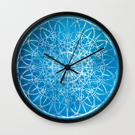 Fire Blossom - Cyan Wall Clock