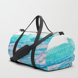 Abstract hand painted blue teal pink watercolor brushstrokes Duffle Bag