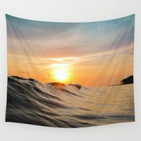 surfboard Wall Tapestries featuring Sunset in Paradise by Nicklas Gustafsson
