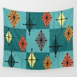 Mid Century Modern Starburst Diamonds Turquise & Teal Wall Tapestry