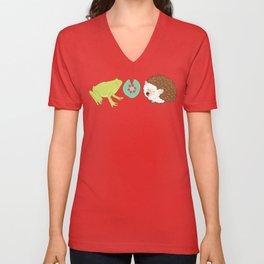 Hedgehog and Frog Unisex V-Neck