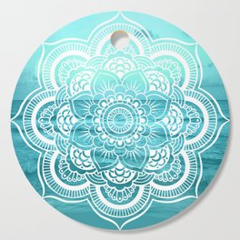 Mandala : Aqua Sunset Waters Cutting Board