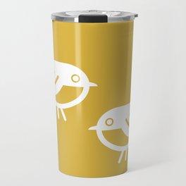 Pair Bonding. Cute Bird Couple in White and Mustard Yellow. Modern Retro Travel Mug