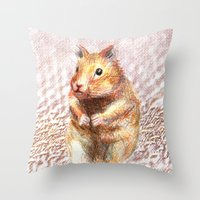 hamster Throw Pillows featuring hamster by dace k