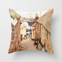 Newlyn, Cornwall, Trewarveneth Street - Stanhope Alexander Forbes Throw Pillow