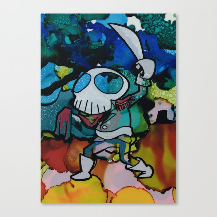 Commodore Skull Waves his Cutlass Canvas Print