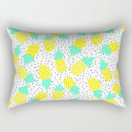 Modern tropical mint yellow pineapples black polka dots pattern illustration Rectangular Pillow
