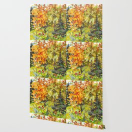 Watercolor Vivid Autumn Landscape Wallpaper