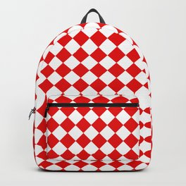 VERY SMALL RED AND WHITE HARLEQUIN DIAMOND PATTERN Backpack