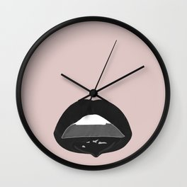 black dripping lips Wall Clock