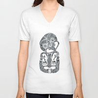 tiki V-neck T-shirts featuring Tiki  by AndreaGeddes