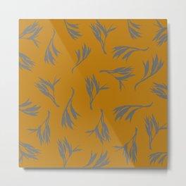 Harakeke Flax Seed Pods (Ochre and dark grey) Metal Print