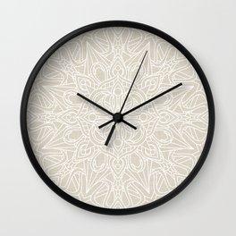 White Lace Mandala on Antique Ivory Linen Background Wall Clock