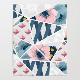 Colorful Geometric Flowers Pattern Poster
