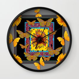 WESTERN BLACK & GREY BUTTERFLIES SUNFLOWERS Wall Clock