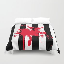 Black and White and Red All Over Duvet Cover