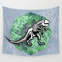 t rex Wall Tapestries featuring T. Rex Fossil by chobopop