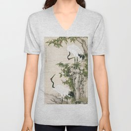 Cranes, Peach Tree, and Chinese Roses Unisex V-Neck