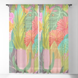 Saturated Tropical Plants and Flowers Sheer Curtain