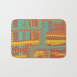 Turquoise, Gold, and Orange Textured Pattern Bath Mat