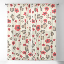 Romantic Leopard Print Pattern with Red Flowers Sheer Curtain