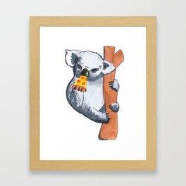 koala eating pizza Framed Art Print